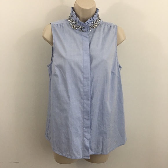 d1870f6fd5edad J. Crew Tops - J. Crew Tilda blue oxford rhinestone top blouse 6